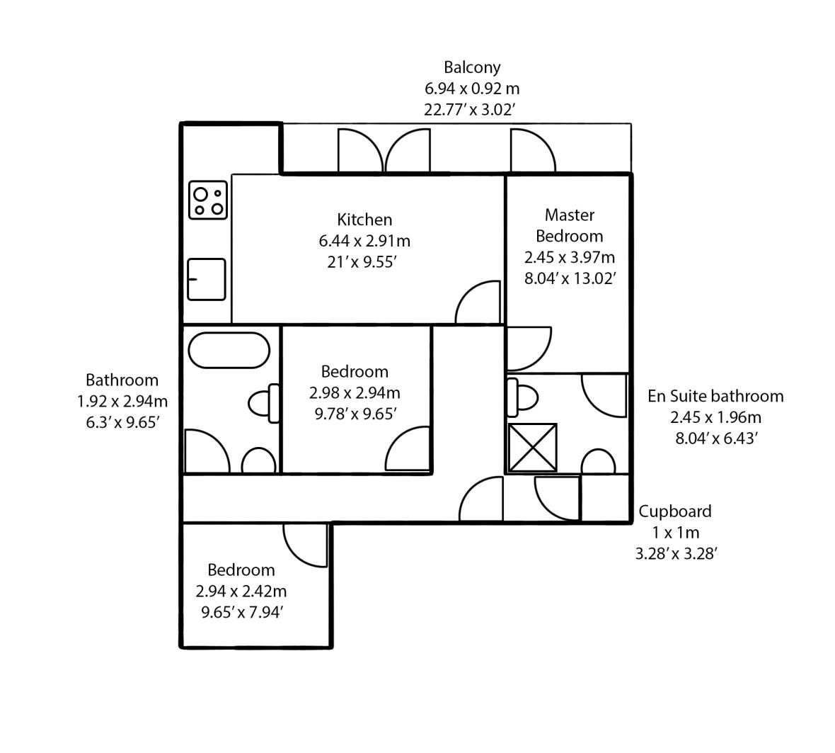 3 bed flat plan